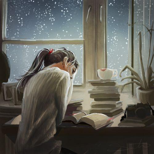Estudio con lluvia (ilustración de Samantha Dodge)