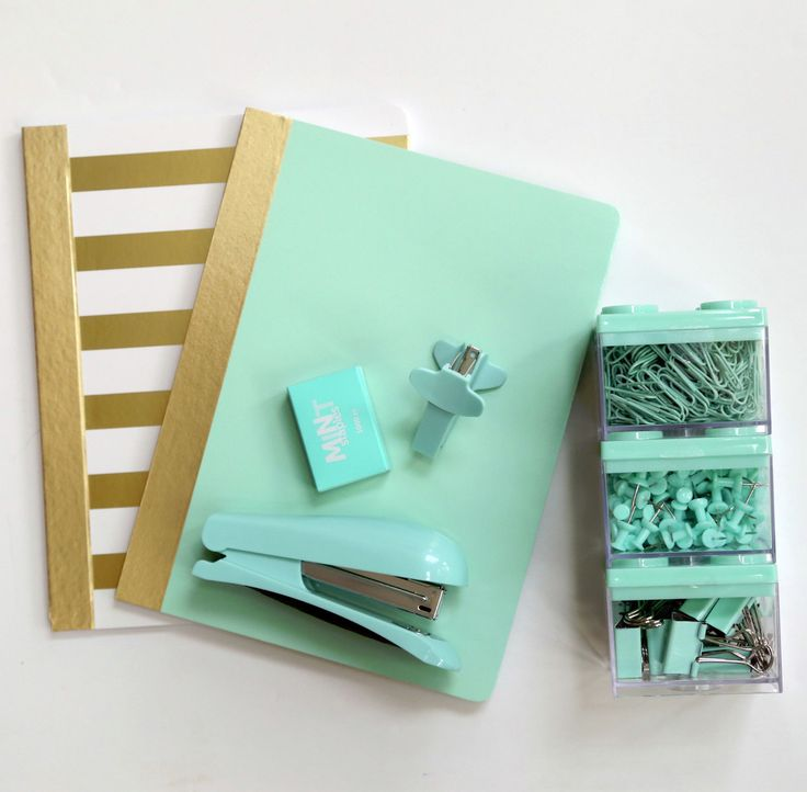 FOR SALE | MINT + Gold Stripes School Supplies, Stapler Desk Accessories Mint Blue Mint Green Mint Color Seafoam Green Staples Notebooks Paperclips Push Pins Thumb Tacks Bulletin Board Paperclips Binder Clips