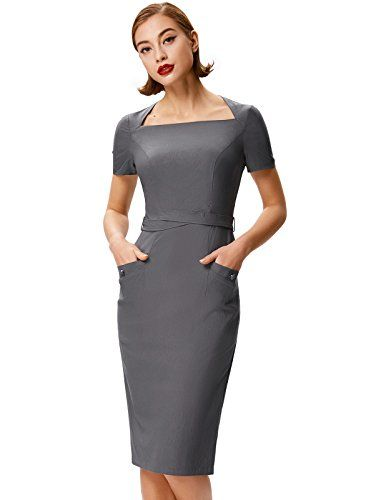00cdb33226 Belle Poque Women s Short Sleeve Stretchy Simple Pencil D... https ...