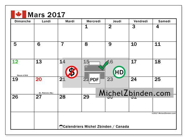 "Calendrier mars 2017 ""Jours fériés Canada Tiberius"" par Michel Zbinden (Canada)"