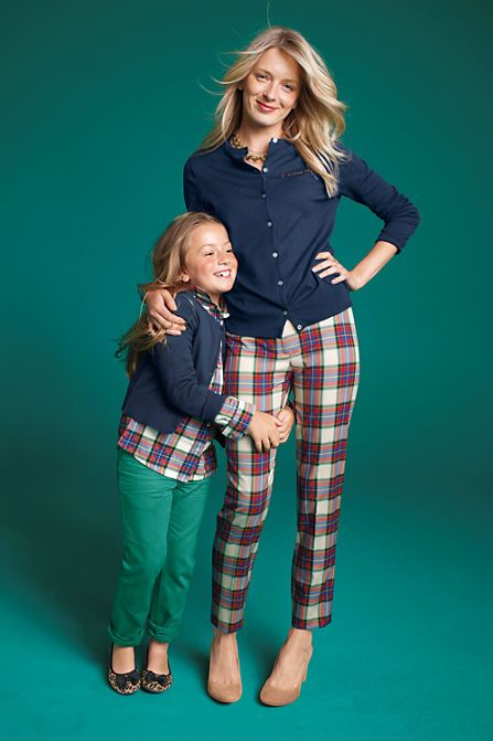 Twill Yarn Dye Slim Leg Pants in Stewart Plaid for you (and a matching top for her!)