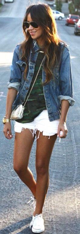 White Jean Shorts Cutoffs Blue Jean Jacket Green Camo Tshirt