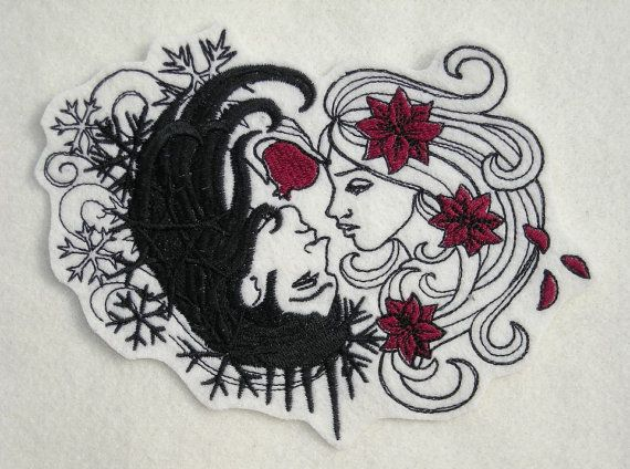 This patch of Hades and Persephone measures approximately 5 X 6.75. Greek mythology tells a story of Persephone being kidnapped by Hades, King