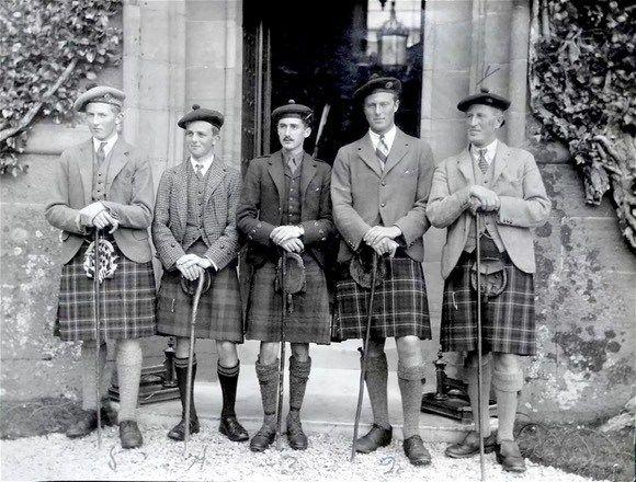 Curated vintage Highland gentleman kilts - Sporran style. Scottish kilt photographs