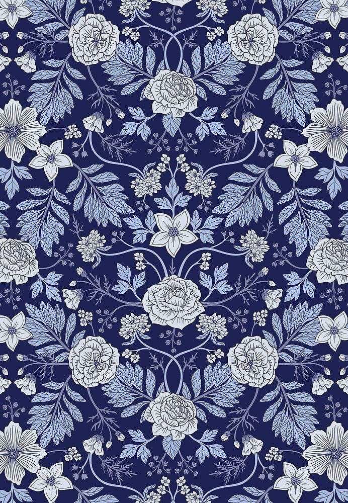 Light Blue Cobalt Blue White Floral Pattern By Somecallmebeth