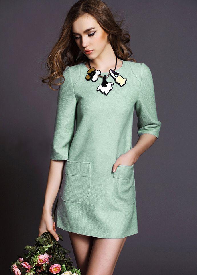 Green Half Sleeve Pockets Woolen Dress 35.50