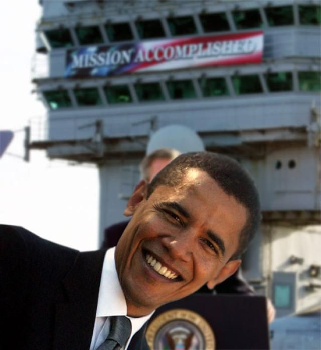 Funny Barack Obama Pictures: Mission Accomplished