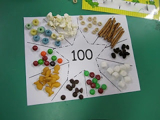 For Elise! 100 day sorting and counting mat, I would use items instead of food, but I like the star idea!