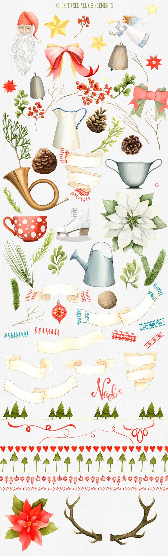 Watercolor illustration clipart for winter and Christmas designs. Classic color and subjects #clipart  #Christmas