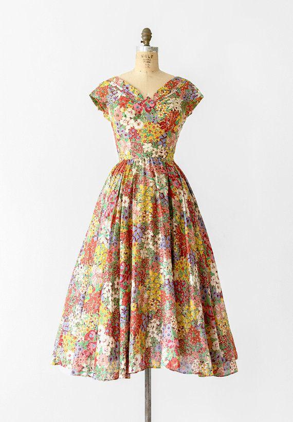 1950s Designer Floral Dress 50s Adele Simpson Cotton Tea Floral Dress Design Dresses Vintage Dresses
