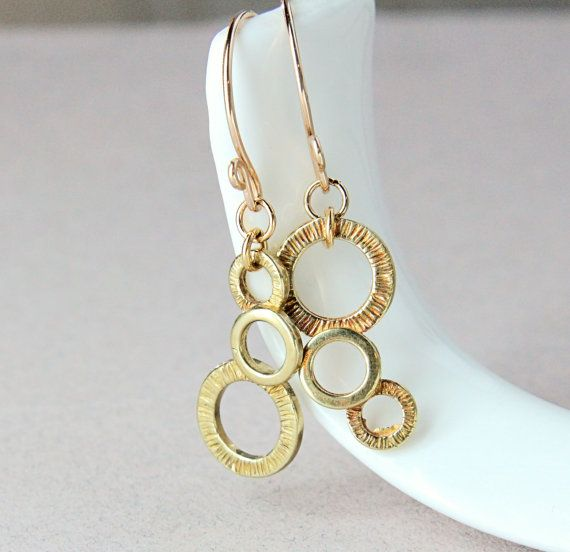 Gold Charm Earrings Gold Filled Brass Bubble Earrings  by Hildes