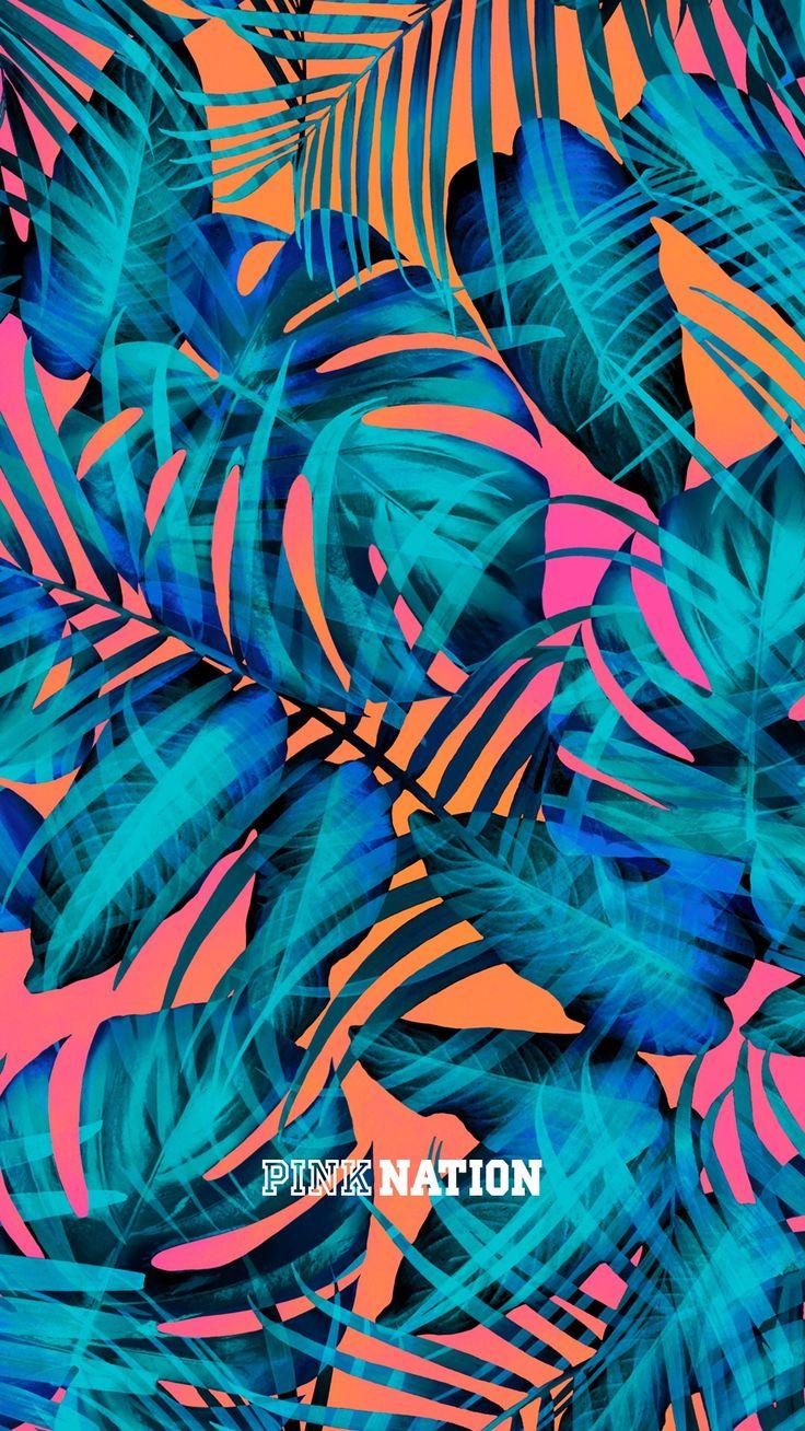 Victoria's Secret pink wallpaper iPhone background nation 2018 spring break palm tree leaf gradient
