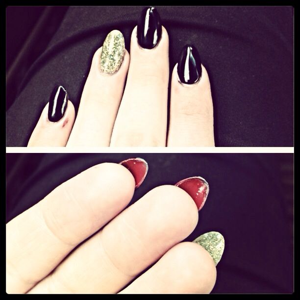 Louboutin black and gold nails!