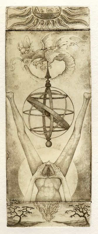 Iona Tarot 21 - Die Welt. Erinnert an Baubo und zahlreiche andere Darstellungen der Frau mit geöffneter Vulva. Ein Symbol der Fruchtbarkeit und Gebärfähigkeit, wie auch der weiblichen Macht.