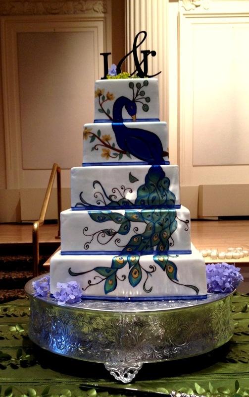 High Quality Handpainted Peacock Wedding Cake By White Rose Bakery, Portland OR  Www.whiterosebakery.com