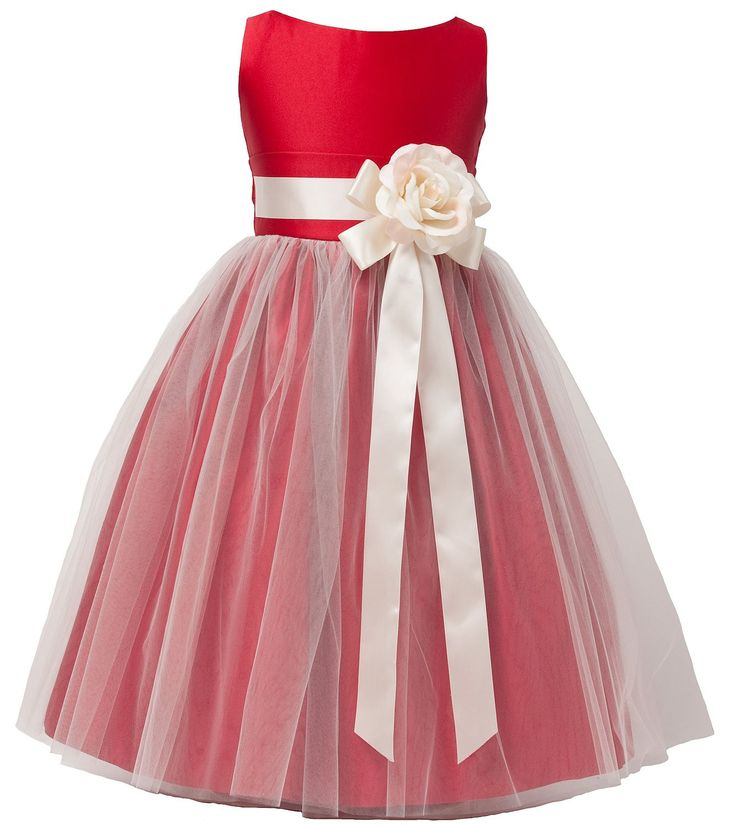 Red Sweet Kids Girls Vintage Satin and Tulle Flower Girl Pageant Dress