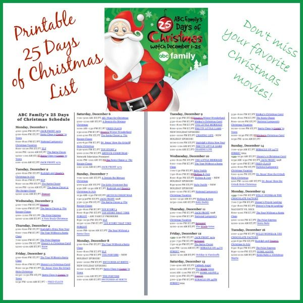 Don't miss a show with this printable ABC Family's 25 Days of Christmas TV Schedule
