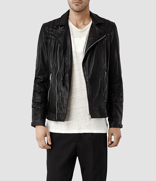 Mens Kushiro Leather Biker Jacket (Black) | ALLSAINTS.com