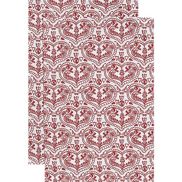 Set of 2 Valentine's Day Dishtowels in Kitchen Linens | Crate and Barrel