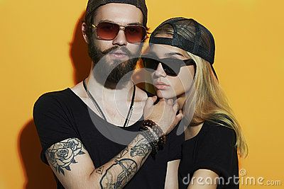 Fashion Beautiful Couple Together. Tattoo Hipster Boy And Girl - Download From Over 50 Million High Quality Stock Photos, Images, Vectors. Sign up for FREE today. Image: 55414955