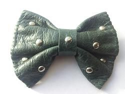 GREEN handmade leather bow tie from www.solace-designs.com