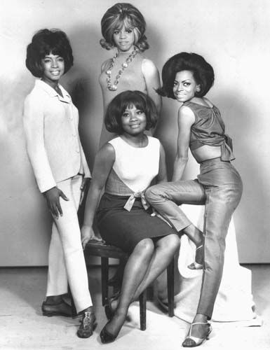 January 15, 1961: The Supremes being photographed after signing a recording contract with the newly formed Motown. The contract stipulated they change their names from The Primettes to The Supremes. And 4th member Barbara Martin (bottom center) would leave the group in 1962.