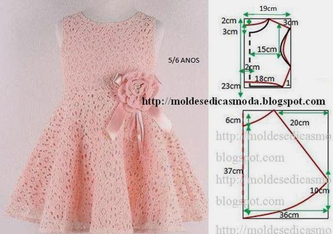 Plantillas de moda para la medida: Vestido de los cabritos 5/6 años - 3