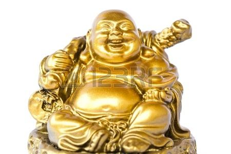 Smiling Buddha - Chinese God of Happiness, Wealth and Lucky Isolated on white…