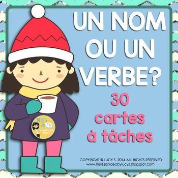$ French Grammar Task Cards - Un nom ou un verbe? cartes à tâches en français - fun and engaging way to get kids to practice the language
