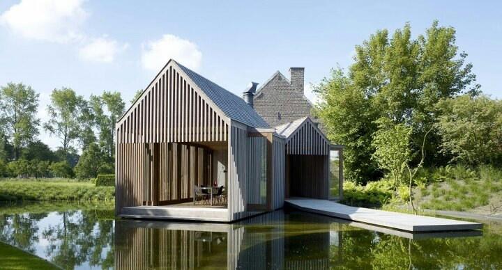 geometrisch, huis, bos, puntig dak, rechte muren, hout huis