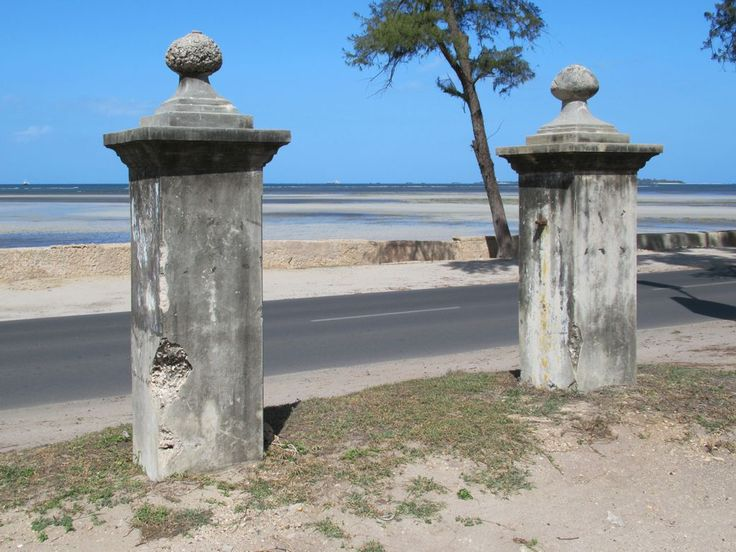 The enigmatic Gate Posts of Eternity on Ocean Road in Dar es Salaam, Tanzania, once marked the entrance to the Ismaili burial grounds.