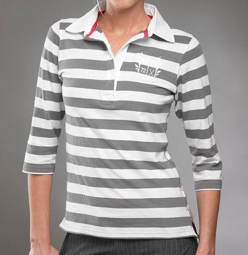 Pahr Golf Natasha Womens Midsleeve Golf Shirt Grey White