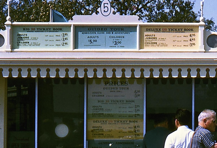 disneyland ticket prices in the 50's - Maaaann...come on time travel! Work already! x3