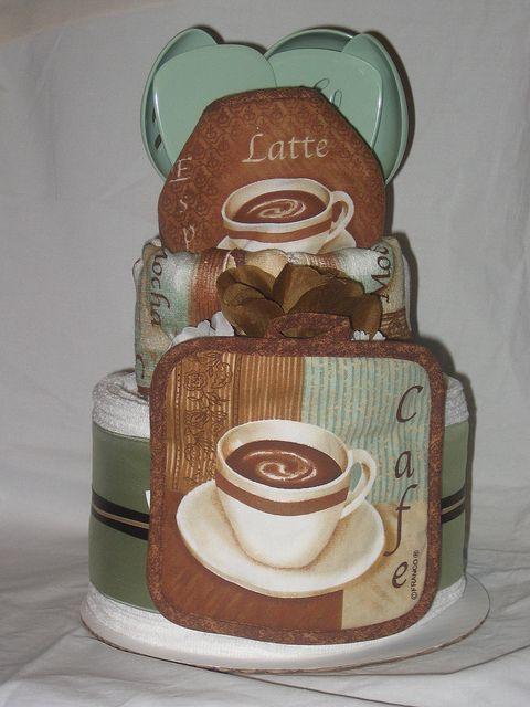Bridal Shower Towel Cake | Cafe Latte Kitchen Towel Cake | Flickr - Photo Sharing!