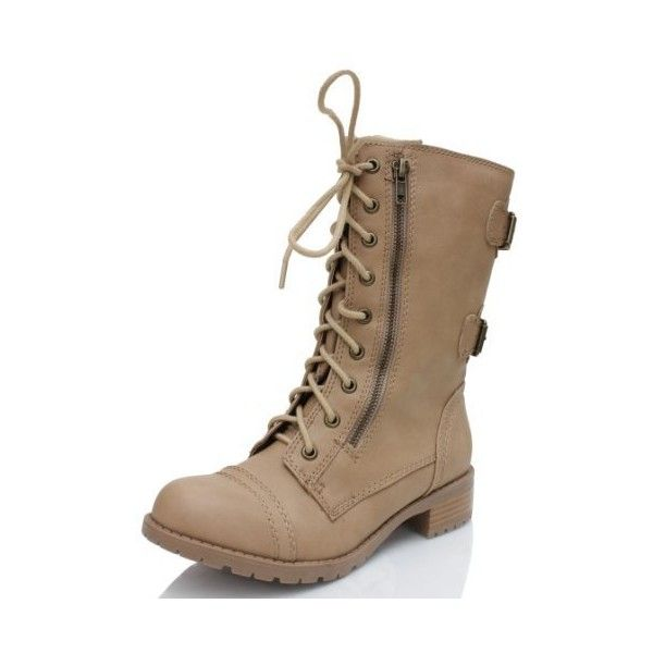 Soda Dome-Sa Vegan Lace Up Mid Calf Women Military Boot ($48) ❤ liked on Polyvore featuring shoes, boots, soda flats, military boots, mid calf wedge boots, wide mid calf boots and combat boots