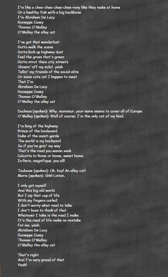 Thomas O'Malley Lyrics - YouTube