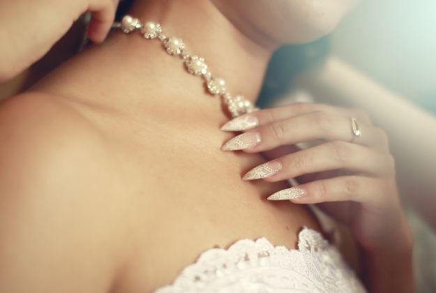 Красивый свадебный маникюр с рисунком на нарощенных ногтях ::: onelady.ru ::: #nail #nails #nailart #manicure