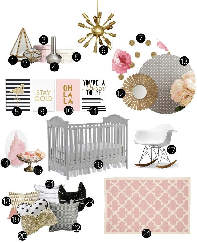 Gray, gold, silver, pink, black and white nursery inspiration. Bold prints, florals, glittery metallics. @ajoyfulriot
