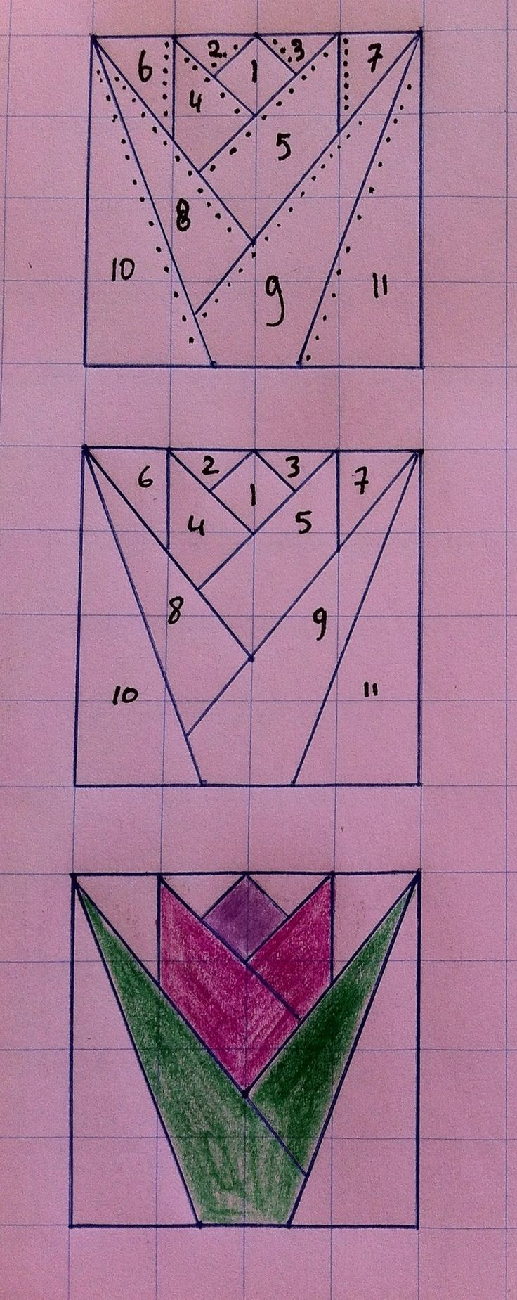 How to draw a tulip quilt pattern. http://singers-and-featherweights.blogspot.nl/?m=0