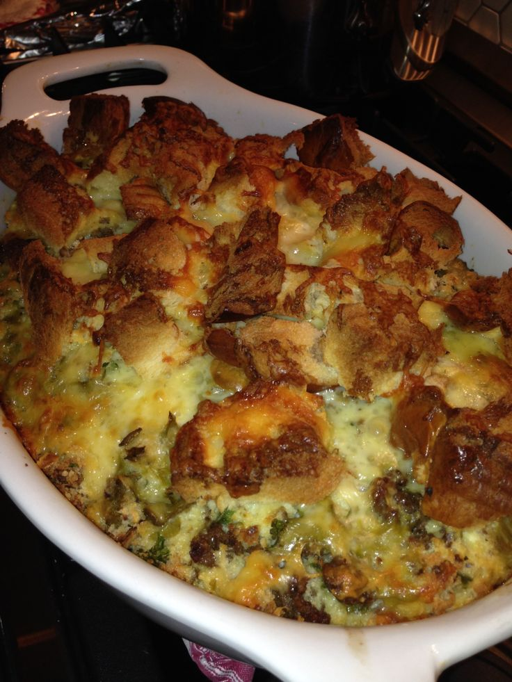 "The VERY best recipe for a breakfast casserole I have EVER found! I have been making this recipe for almost 15 years and every time I make it, I am asked for the recipe! ""Big Country Breakfast Bread Pudding"" www.foodforayear.com Food for a Year"