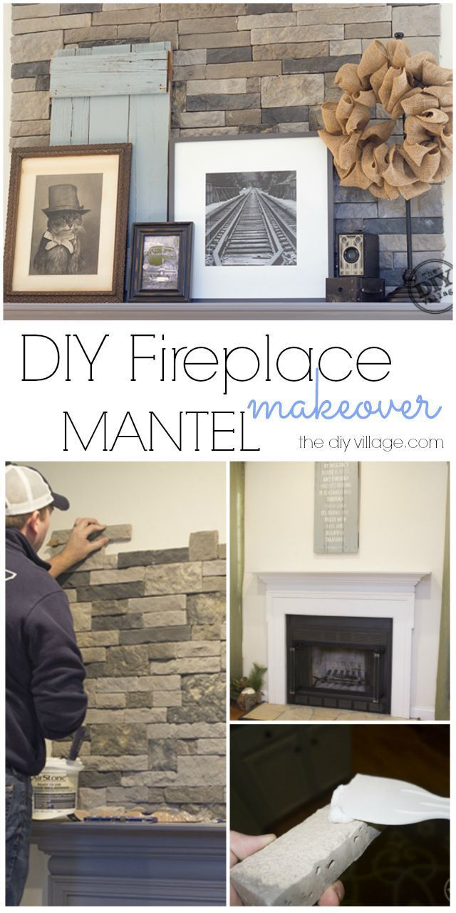 Diy Stack Stone Fireplace Makeover With Dover Gray Mantel Great Mix Of Rustic