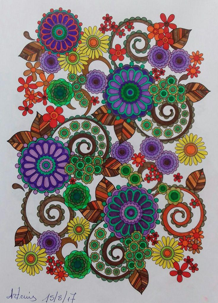 Week 65, flower designs vol 1 by Jenean Morrison coloured by Artemis Anapnioti.