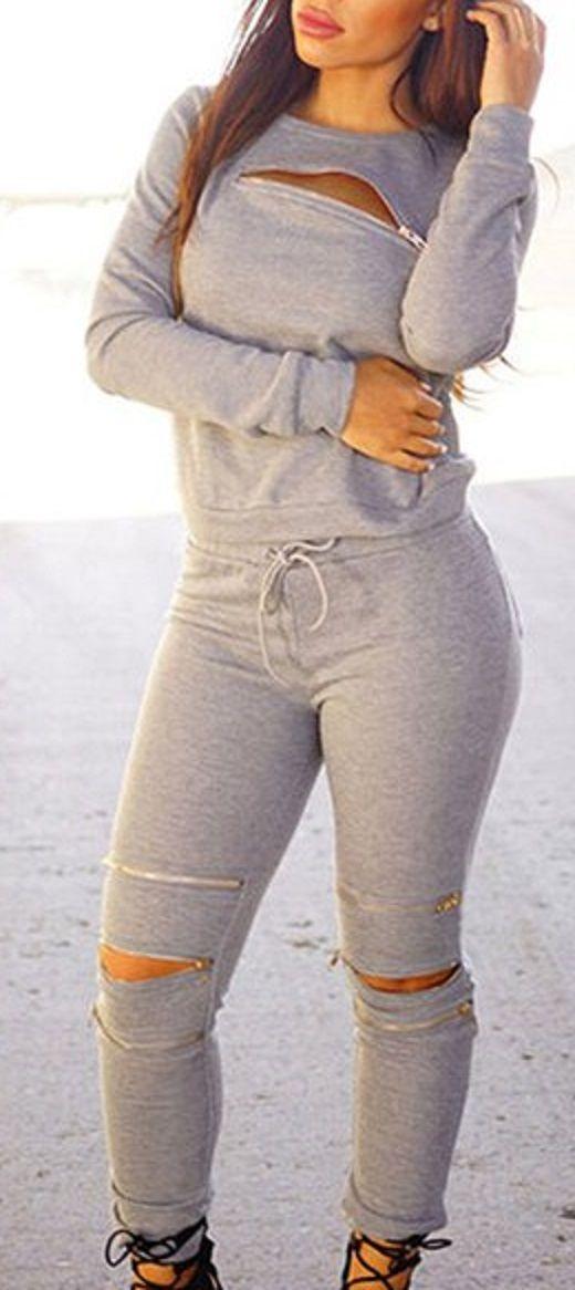 Sexy Round Neck Long Sleeve Sweatshirt + Elastic Waist Pants Women's Twinset