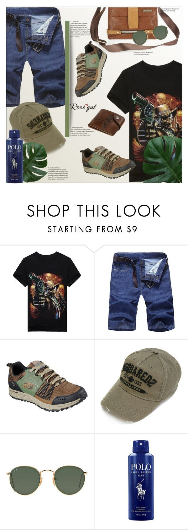 """WIN $20 CASH FROM ROSEGAL.COM!!!"" by ania-95 ❤ liked on Polyvore featuring Skechers, Dsquared2, Ray-Ban, Ralph Lauren, men's fashion, menswear, skull, Tee, Tshirt and 3d"