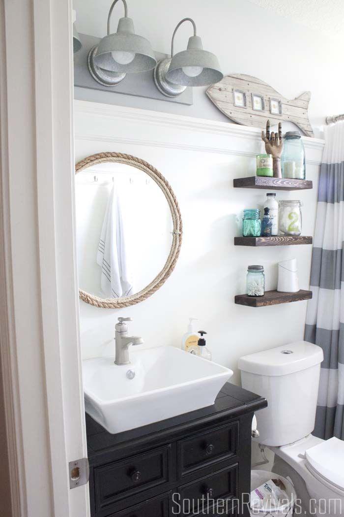 DIY Rope Mirror Tutorial. Nautical Small BathroomsCoastal ...