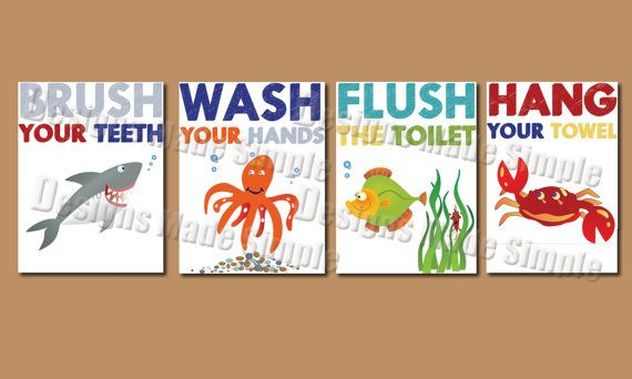 Cartoon Fish Signs for Childrens Bathroom  - Set of Four Printable - Wash your Hands, Brush Your Teeth, Flush the Toilet, Hang Your towel