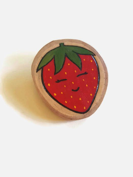 Strawberry Brooch - Wooden Brooch, Wooden Pin, Pyrography, Wood Burning Art, Kawaii Brooch, Strawberry Pin, Lapel Pin, Wooden Jewelry