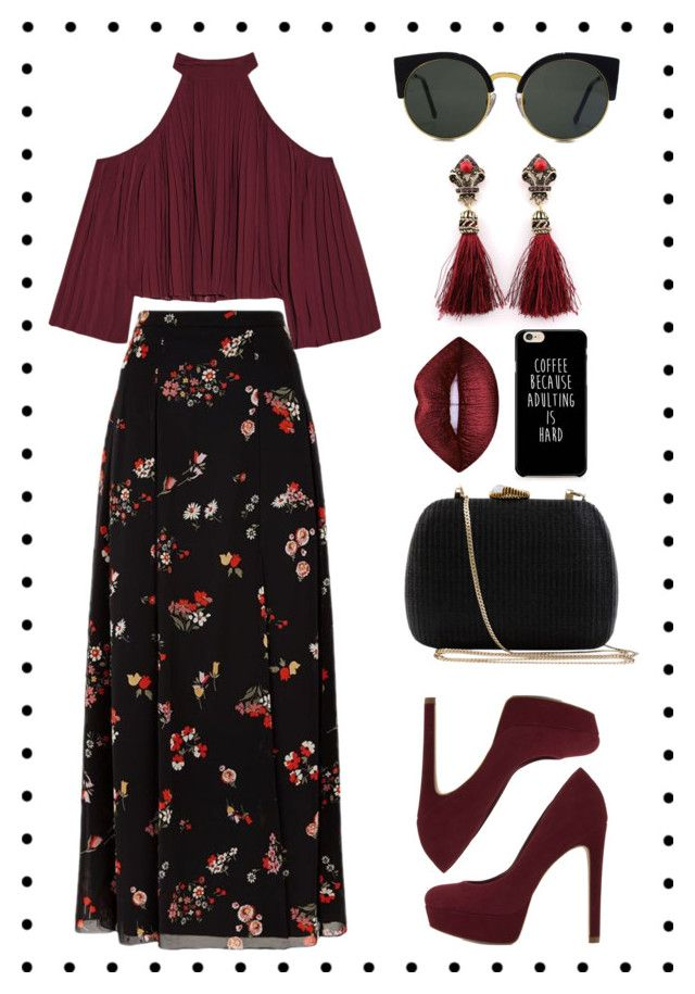 """flowery skirt 🌹"" by xanniee on Polyvore featuring W118 by Walter Baker, ALDO, RED Valentino, Serpui and RetroSuperFuture"