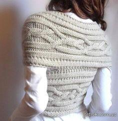 Безрукавка-снуд / шарф-трансформер спицами. Схема