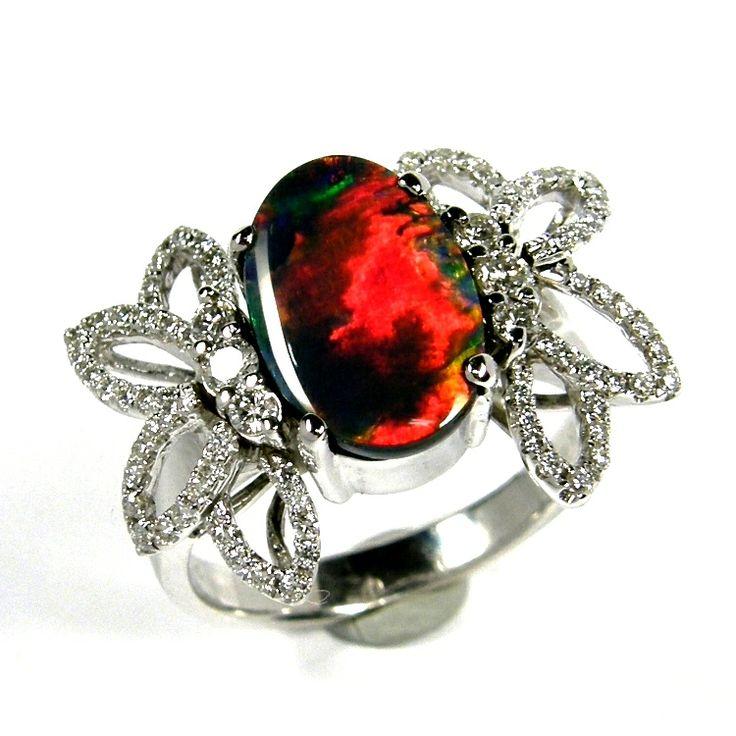 Solid, Australian Black Opal Ring - K18 WG & Diamonds Setting. www.gemstory.com.au